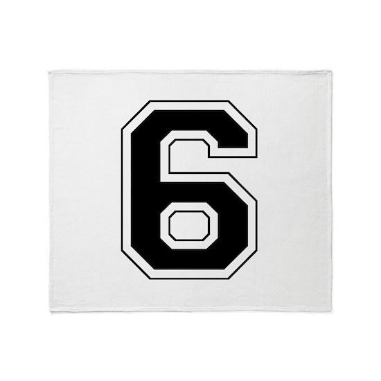 Varsity Font Number 6 Black Throw Blanket