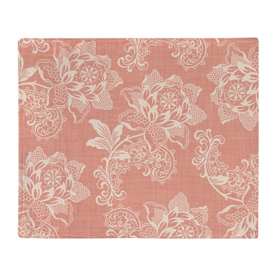 Cafe Au Lait Bedroom With Damask Wallpaper: Shabby Chic Soft Floral Damask Throw Blanket By Pugmom4