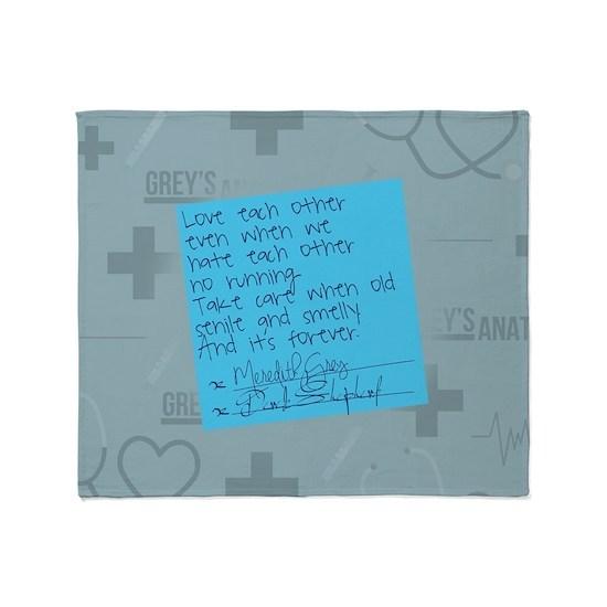Greys Anatomy Sticky Note Throw Blanket