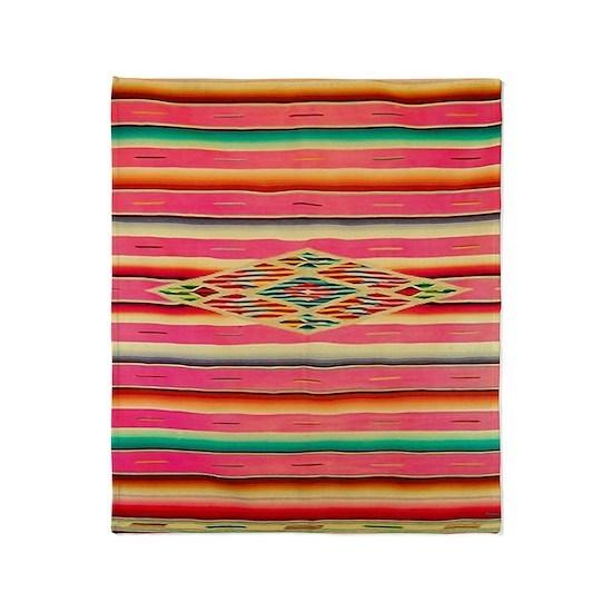 Vintage Pink Mexican Se Throw Blanket