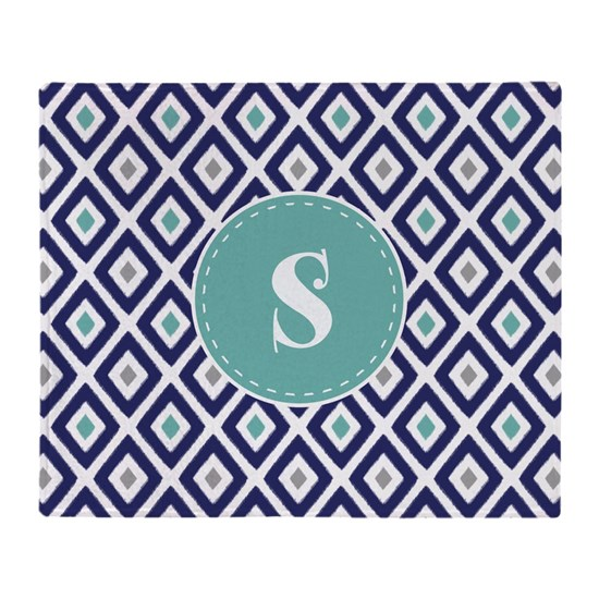 Navy Blue and Aqua Ikat Diamond Pattern Monogram