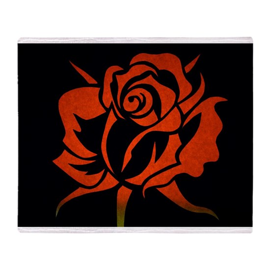 Red Rose Etching on Black