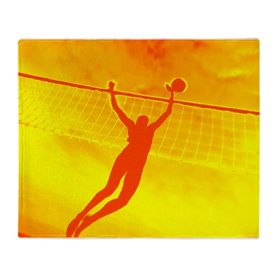 Beach Blanket Volleyball: VOLLEYBALL ORANGE Throw Blanket By A-to-Z-Originals