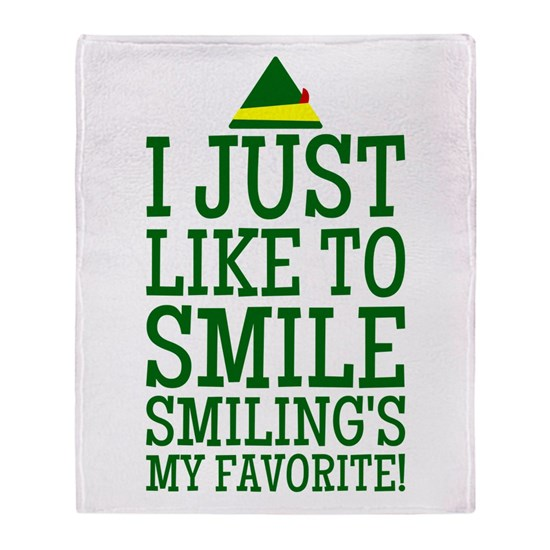 Elf Quotes Smiling: Elf Smiling Quote Throw Blanket By DiamondImagesDesign