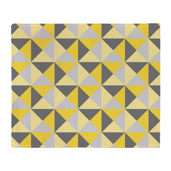 Yellow Grey Modern Triangles Pattern