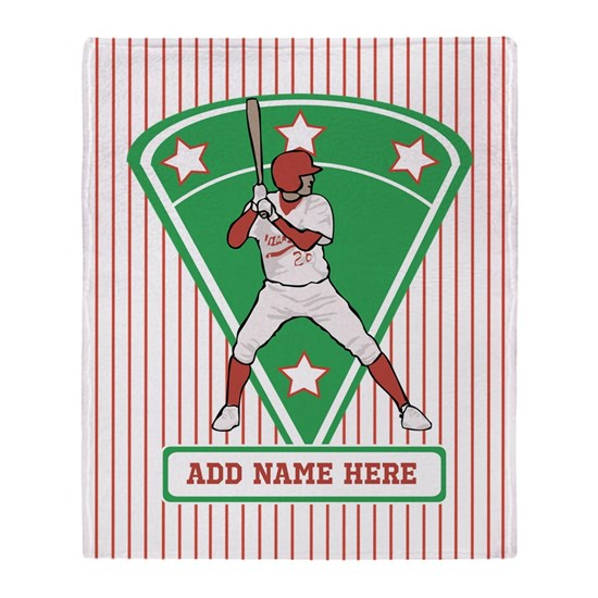 Personalized Red Baseball star player