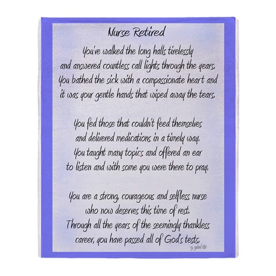 Nurse Retired Poem Blue
