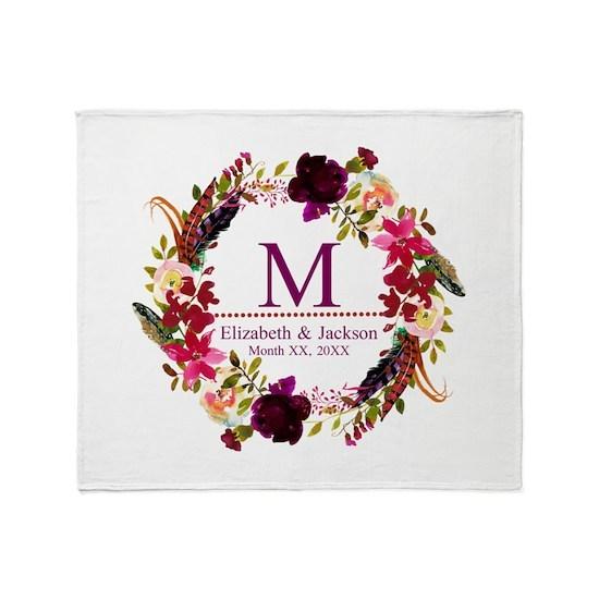 Boho Wreath Wedding Monogram