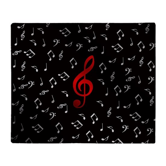 red music notes in silver