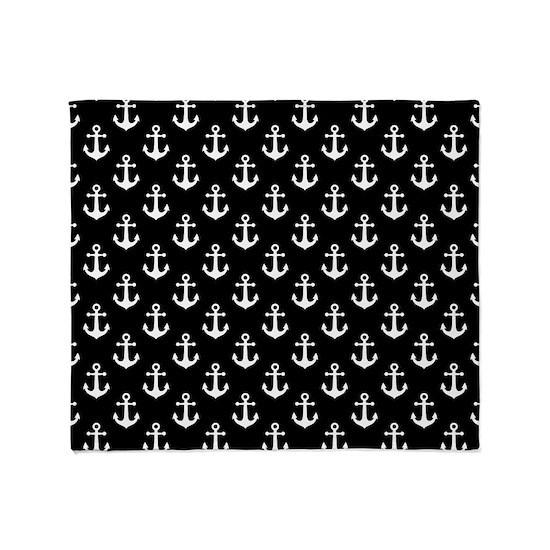 White Anchors Black Background Pattern