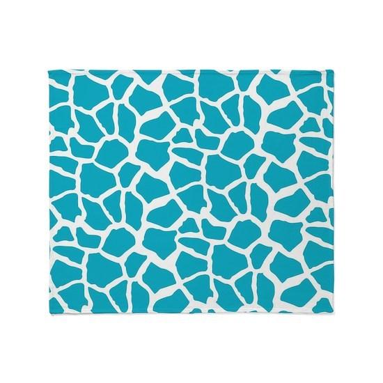 Aqua Blue Giraffe Pattern Animal Print