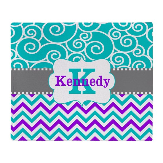 Teal Purple Swirls Chevron Personalized