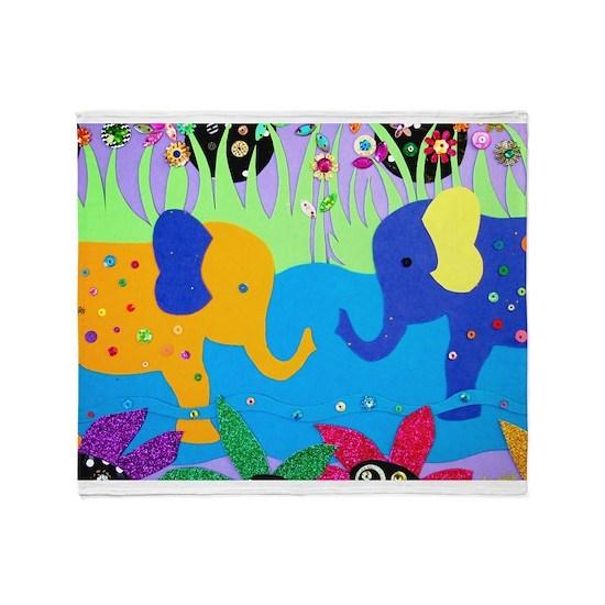 Colorful Elephants at Waterhole