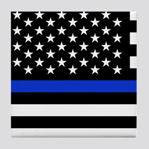 Thin Blue Line American Flag Tile Coaster