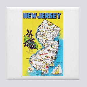 New Jersey Map Greetings Tile Coaster