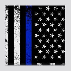 Vertical distressed police flag Tile Coaster