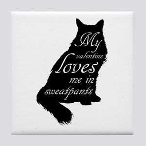 Valentine Cat loves Sweatpants Tile Coaster