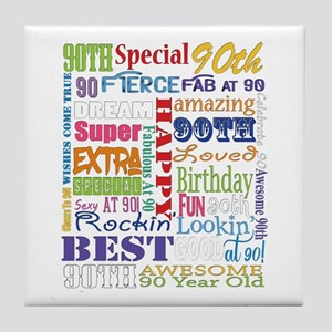 90th Birthday Typography Tile Coaster