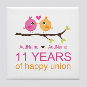 11th Anniversary Personalized Tile Coaster