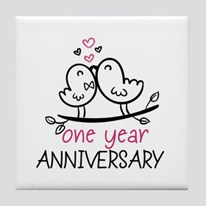 1st Anniversary Cute Couple Doodle Bi Tile Coaster