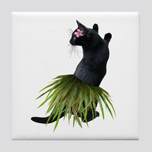 Hula Cat Tile Coaster