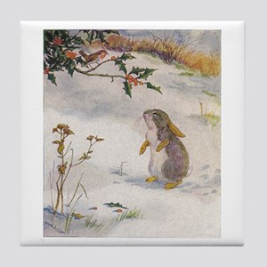 1927 Christmas Bunny Tile Coaster