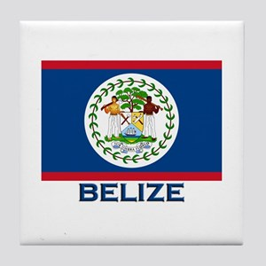 Belize Flag Merchandise Tile Coaster