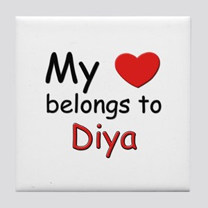 My heart belongs to diya Tile Coaster