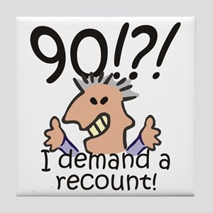 Recount 90th Birthday Tile Coaster
