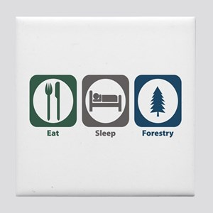 Eat Sleep Forestry Tile Coaster