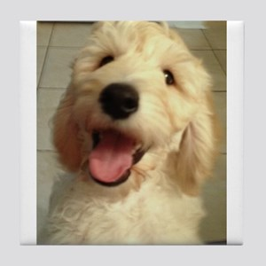 Happy Goldendoodle Tile Coaster