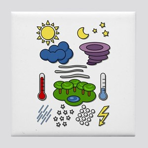 Weather chart symbols Tile Coaster
