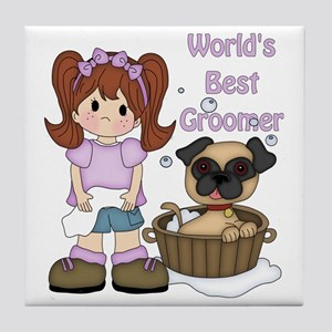 Worlds Best Groomer 3 Tile Coaster