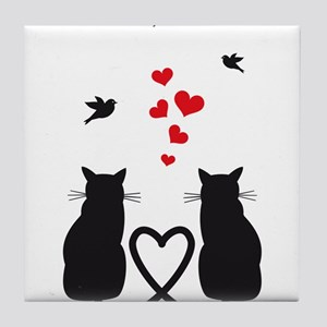 cats in love with birds and red hearts Tile Coaste