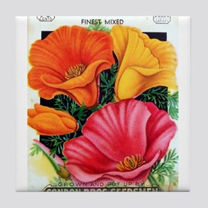 California Poppy Tile Coaster
