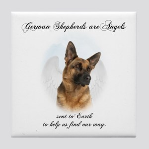 German Shepherd Angel Tile Coaster