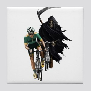 Grim Reaper Chasing Cyclist Tile Coaster