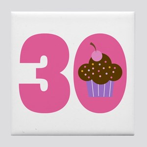 30th Birthday Cupcake Tile Coaster