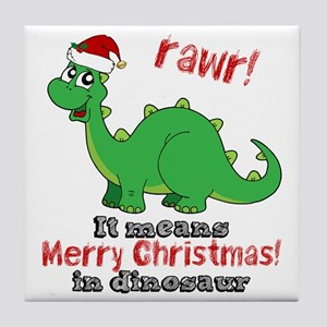 Dinosaur Christmas Tile Coaster