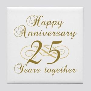 Stylish 25th Anniversary Tile Coaster