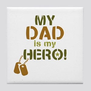 Dog Tag Hero Dad Tile Coaster