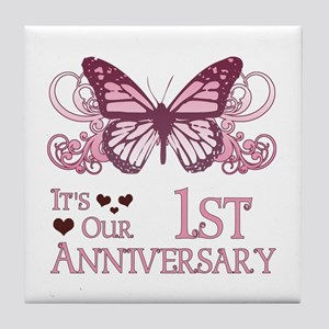 1st Wedding Aniversary (Butterfly) Tile Coaster