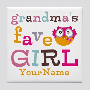 Grandmas Favorite Girl Personalized Tile Coaster