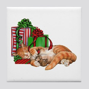 Cute Cat, Mouse And Christmas Tile Coaster