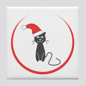Feral Cat Claus Tile Coaster