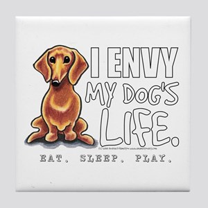 Red Dachshund Envy Tile Coaster