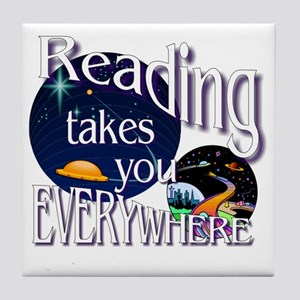 Reading Takes You Everywhere BL Tile Coaster