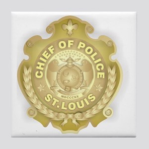 Chief of Police 3d Metallic Tile Coaster