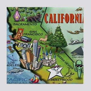 California Map Blanket Tile Coaster