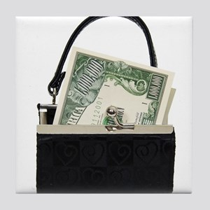 Purse With Big Bucks Tile Coaster